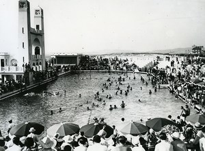 France Le Touquet the Seawater Swimming Pool Crowd Old Photo Pecceu 1938