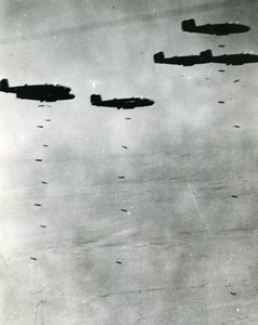 WWII Libya ? RAF Mitchell B25 Bombers Bombing Western desert Old Photo 1943