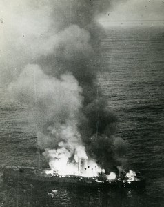 WWII RAF Czechoslovak Squadron German Blockade runner in Flames Old Photo 1943