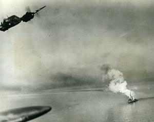 WWII Frisian Islands RAF Beaufighter Attack on German Convoy Old Photo 1944