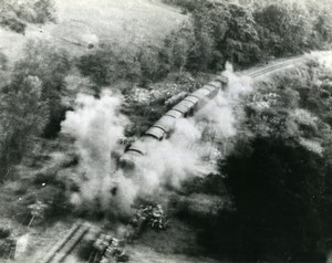 WWII Burma RAF Beaufighters Attack Supply Train near Kanbalu Old Photo 1945