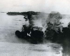 WWII Burma RAF Beaufighters Shelling of Camouflaged Japanese Boat Old Photo 1945