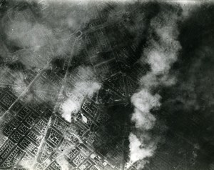 WWII Germany RAF Bombardment of Berlin 8 hours after Old Photo 1945
