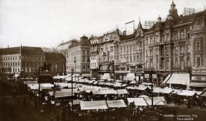 Yugoslavia Croatia Zagreb Ban Jelacic Square Market Old Photo Soubre 1930