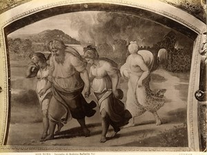 Italy Roma Vatican Raphael Fire of Sodom Old Photo Anderson 1880