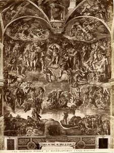 Italy Roma Vatican Michelangelo Last Judgment Old Photo Anderson 1880
