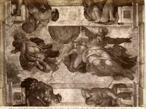 Italy Roma Vatican Michelangelo Creation Sun & Moon Old Photo Anderson 1880