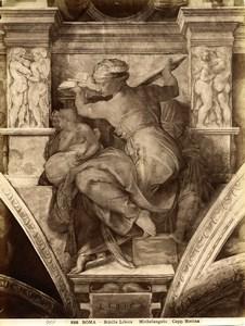 Italy Roma Vatican Michelangelo Sibilla Libica Old Photo Anderson 1880