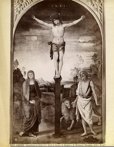 Italy Firenze Academy of Arts Perugino Christ on the Cross Old Photo Brogi 1880
