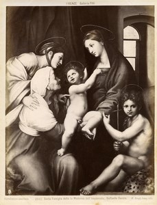 Italie Florence Palais Pitti Raphael Madonna dell'Impannata Ancienne Photo Brogi 1880