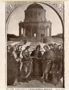 Italie Milan Academie des Beaux Arts Raphael Le Mariage de la Vierge Ancienne Photo Brogi 1880