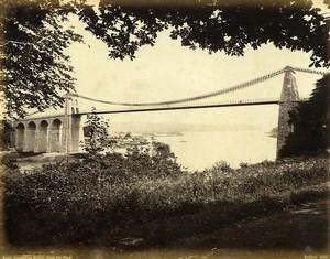 Wales Menai Suspension Bridge from park Old Photo Bedford circa 1870