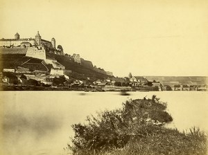 Germany Castle Ramparts overlooking River Old Photo circa 1868