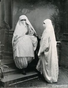 Algeria Algiers Veiled Moorish Women Old Photo Leroux 1900