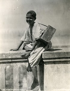 Algeria Algiers Yaouled Young Boy Shoe Shiner Old Photo Leroux 1900