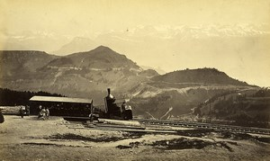 Switzerland Alps Righi Funicular Railway Steam engine Old Photo 1870