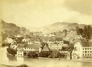 Switzerland Baden im Aargau panorama River Old Photo c1870