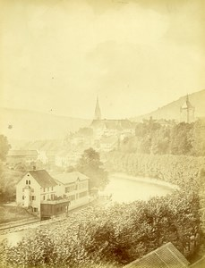 Suisse Baden Panorama Eglise Ancienne Photo c1870