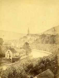 Suisse Baden Panorama Eglise Stadtturm Ancienne Photo c1870