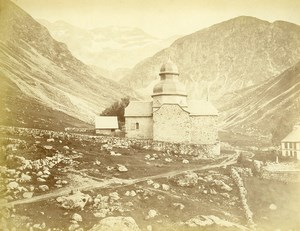 Pyrenees Gedre Heas Chapelle Panorama Montagne Ancienne Photo c1870