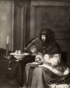 Austria Vienna Wien Museum Gerard ter Borch The Apple Peeler Old Photo Lowy 1900