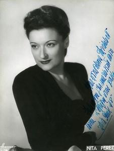 France Paris Music Hall Artist Autograph Nita Perez Old Harcourt Photo c1940