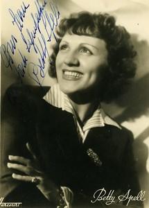 France Paris Music Hall Artist Autograph Betty Spell Old Photo Harcourt c1940