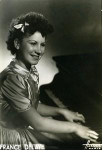 France Paris Music Hall Artist Autograph France Delaye Old Photo Harcourt c1940