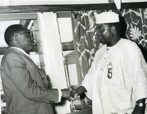 French Colonial Africa Political Handshake Old Photo 1960