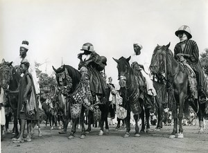 Africa Benin Horsemen Horses Costumes Old Photo Kid Corpel 1960