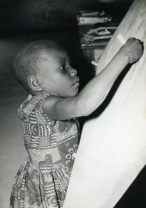 Africa Gabon Young School girl at the blackboard Old Photo 1960