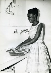 Africa Gabon Young Woman in a Kitchen Old Photo 1960
