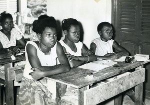 Africa Gabon School girls Class Old Photo 1960