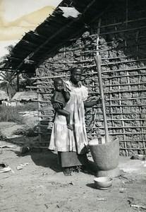 Africa Ivory Coast Village Daily Life Mud Hut Old Photo 1960