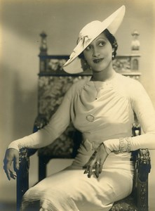 France Paris Elegant Woman Portrait Study Fashion Old Photo Piaz 1930