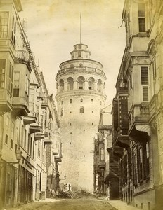 Turkey Constantinople Galata Kulesi Tower Architecture Old Photo 1870