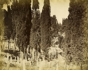 Turkey Constantinople ? Europeans in a Turkish Cemetery Old Photo 1870