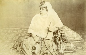 Turkey Constantinople? Young Lady Smoking Hookah Narguile Old Photo 1870