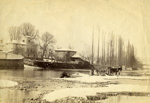 France Paysage Hivernal Riviere Cheval et Chariot Ancienne Photo 1890