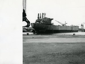 France Dunkerque Dunkirk oil tanker construction Gilda Old Photo 1970