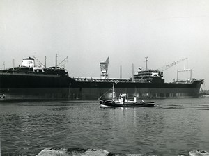 France Dunkirk Dunkerque Oil tanker under construction Wharf Old Photo 1959