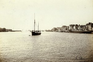 France Le Havre seen from the outer harbor Ship Old Photo Villeneuve 1900