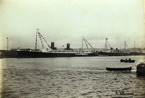 France Le Havre Transatlantic Ship Dock Old Photo Villeneuve 1900