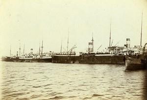 France Le Havre the dock of Chargeurs Réunis Ship Old Photo Villeneuve 1900