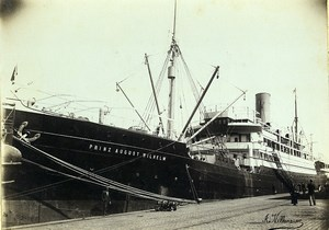 France Le Havre German Boat in Bellot Basin Old Photo Villeneuve 1900