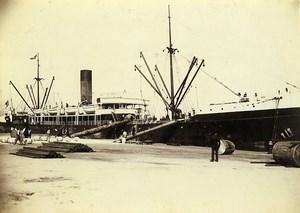 France Le Havre French Line Le Louisiane unloading Old Photo Villeneuve 1900