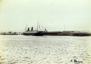 France Le Havre Steamer Savoie departing for New York Old Photo Villeneuve 1900