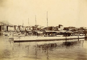 France Toulon Harbor Destroyer Squadron Old Photo Villeneuve 1900