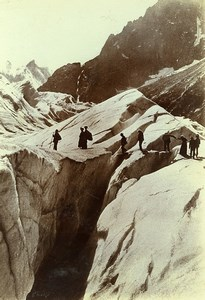 France Alps Chamonix Glacier Mer de Glace Crevasses Old Photo Villeneuve 1900