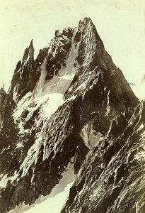 France Alps Chamonix Aiguilles de Charmoz & Republique Old Photo Villeneuve 1900